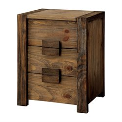 Furniture of America Elbert 3 Drawer Nightstand in Rustic Natural