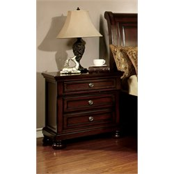 Furniture of America Caiden 3 Drawer Nightstand in Cherry