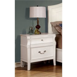Furniture of America Firelda 2 Drawer Nightstand in White