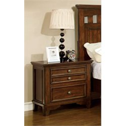Furniture of America Alred 2 Drawer Nightstand in Cherry