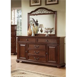 Furniture of America Eason 5 Drawer Dresser and Mirror Set in Dark Oak