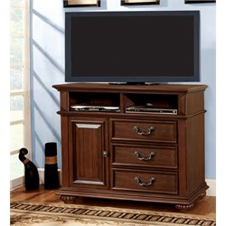 Furniture of America Eason 3 Drawer Media Chest in Antique Dark Oak