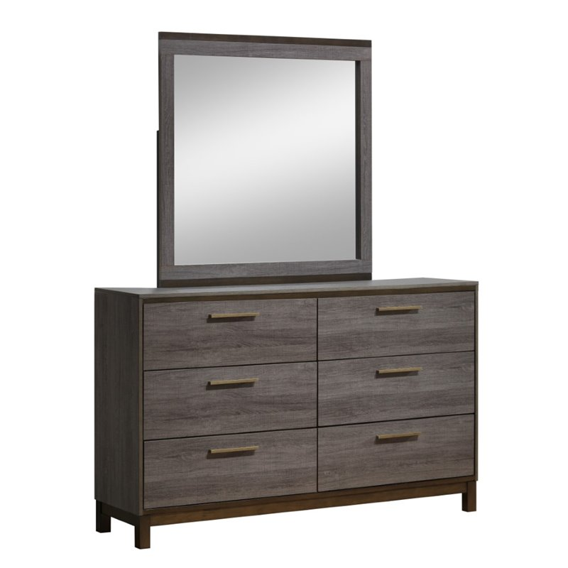 Furniture of America Charlsie 6 Drawer Dresser and Mirror Set in Gray