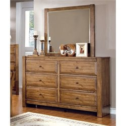 Furniture of America Leanna 6 Drawer Dresser and Mirror Set in Oak