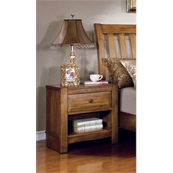 Furniture of America Leanna Nightstand in Rustic Oak