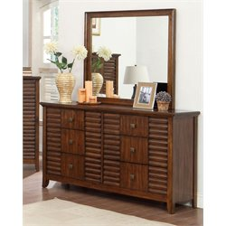 Furniture of America Kyrin 6 Drawer Dresser and Mirror Set in Walnut