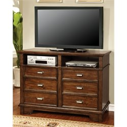 Furniture of America Marley 6 Drawer Media Chest in Brown Cherry