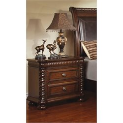 Furniture of America Mallory 2 Drawer Nightstand in Brown Cherry
