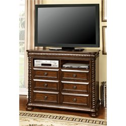 Furniture of America Mallory 6 Drawer Media Chest in Brown Cherry