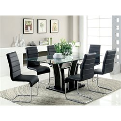 Valery 7 Piece Glass Top Dining Set