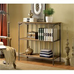 Furniture of America Madeline V Industrial 2 Shelf Bookcase in Natural
