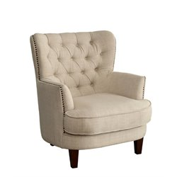 Furniture of America Kellin Tufted Wingback Accent Chair in Ivory
