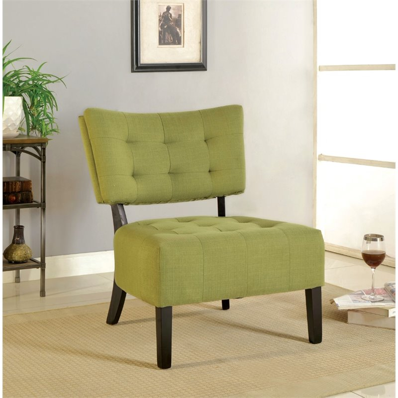 Furniture Of America Ronnie Fabric Tufted Accent Chair In Green IDF AC6222GR