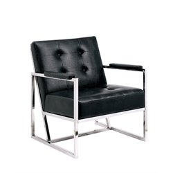 Kye Faux Leather Tufted Accent Chair