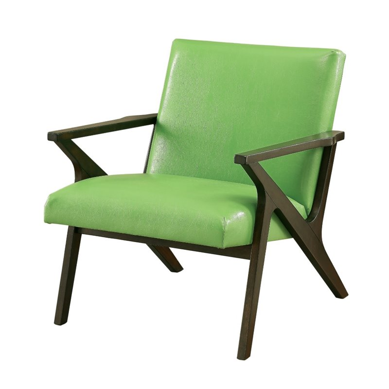 Furniture Of America Conroy Faux Leather Accent Chair In Apple Green IDF AC