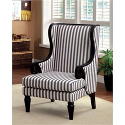 Furniture of America Belva Wingback Accent Chair in Dark Blue