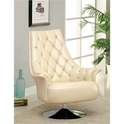Furniture of America Carmelia Leather Swivel Accent Chair in Ivory