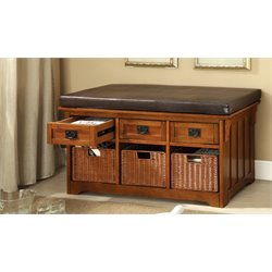 Furniture of America Clemens Storage Bench with Baskets in Antique Oak