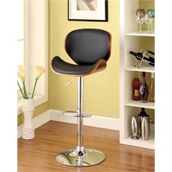 Furniture of America Alyward Adjustable Swivel Bar Stool in Dark Oak