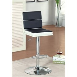 Furniture of America Broma Adjustable Leather Bar Stool in Black