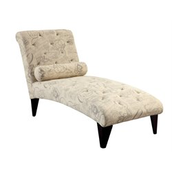 Furniture of America Josiah Tufted Chaise Lounge in Ivory Print