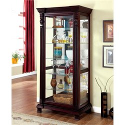 Furniture of America Lisandro Traditional Curio Cabinet in Oak