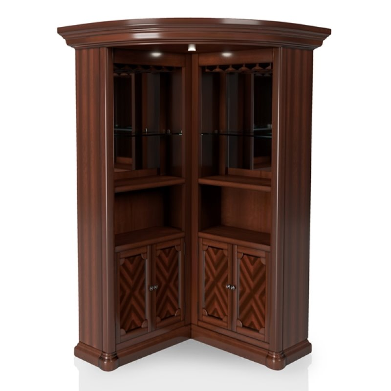 Furniture Of America Myron Traditional Corner Home Bar In Dark Cherry Idf Cr142