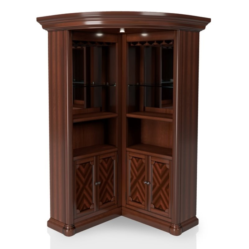 Furniture of america myron traditional corner home bar in - Bar cabinets for home ...