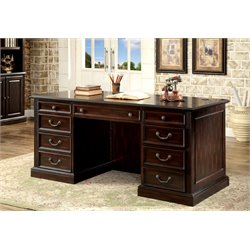 Furniture of America Kurtis Transitional Executive Desk in Cappuccino