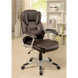 Furniture of America Grise Leather Office Chair in Brown