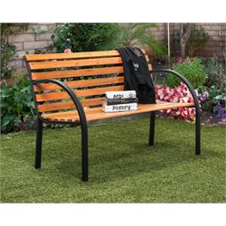 Furniture of America Jordy Traditional Patio Bench in Black