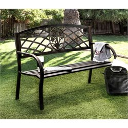 Furniture of America Palmer Slatted Patio Bench in Black