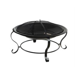 Furniture of America Dane Patio Steel Fire Pit in Black