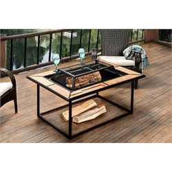 Furniture of America Gene Patio Fire Pit in Black