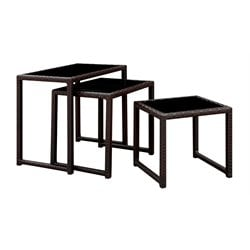 Furniture of America Lodge 3 Piece Patio Nesting Table in Espresso