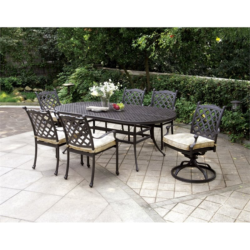 furniture of america gamilt 7 piece metal patio dining set in black idf ot2303 7pc. Black Bedroom Furniture Sets. Home Design Ideas