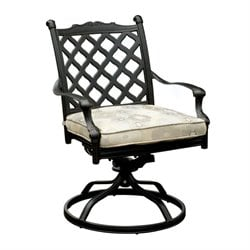 Furniture of America Gamilt Patio Swivel Chair in Black (Set of 2)