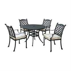 Furniture of America Gamilt 5 Piece Patio Bistro Set in Black