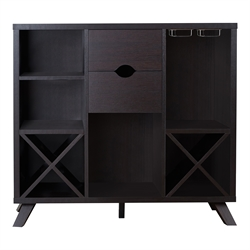 Furniture of America Ruybal Wine Rack Buffet in Cappuccino