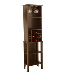 Furniture of America Vitully Transitional Wine Tower in Black
