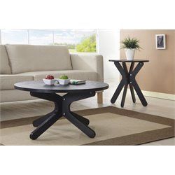 Furniture of America Golsten 2 Piece Coffee Table Set in Black