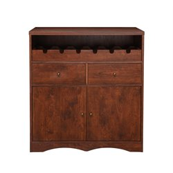Furniture of America Erwin Wine Rack Buffet in Vintage Walnut