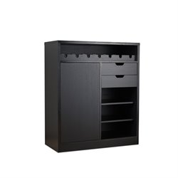 Furniture of America Elise Modern Wine Rack Buffet in Black