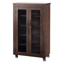 Furniture of America Alesia Shoe Cabinet with Casters in Walnut