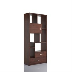 Furniture of America Albertina Modern Bookcase in Vintage Walnut