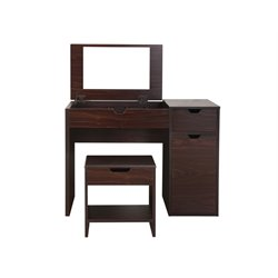 Furniture of America Wurth Vanity with Stool in Walnut