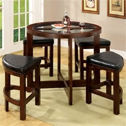 Furniture of America Mady 5 Piece Pub Heighttable Set in Dark Walnut