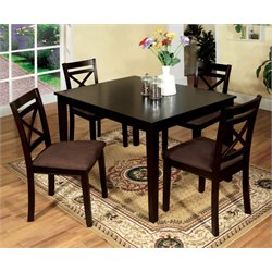 Furniture of America Dien 5 Piece Dining Set in Espresso