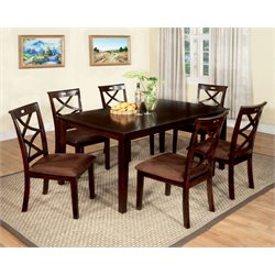 Furniture of America Bilman 7 Piece Dining Set in Dark Walnut