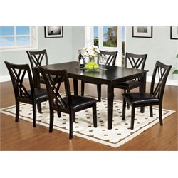 Furniture of America Signal 7 Piece Dining Set in Espresso